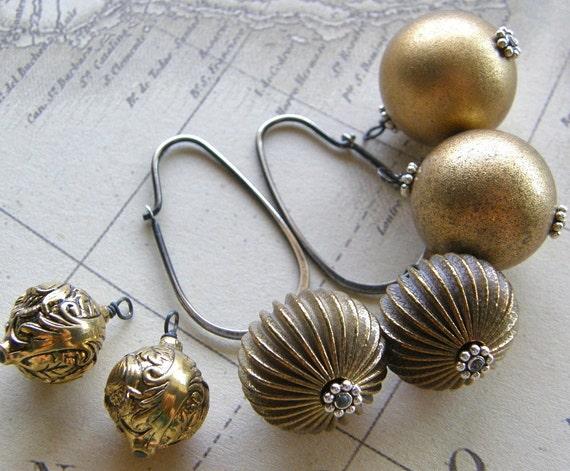 Gold Earrings, 3 Interchangeable Vintage Gold Bead Earrings, Gold Drop Earrings, Eco Friendly