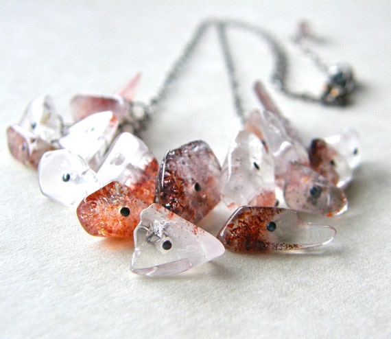 RESERVED FOR SHAY - Red Lepidocrocite Quartz Waterfall Necklace, Red and White, Quartz Necklace