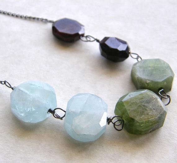 Aquamarine Necklace, Peridot and Garnet Necklace, Color Block Necklace, Extra Long Necklace