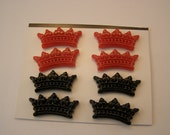 crown brads, red and black