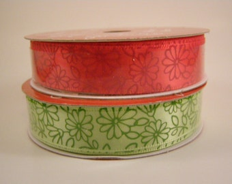 Red and Green Flowers ribbon