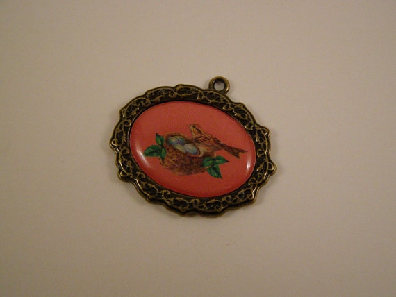 bird with nest no. 2 metal charm or pendant