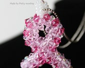 Bead Woven Swarovski Crystal Pink Ribbon Necklace-Hope