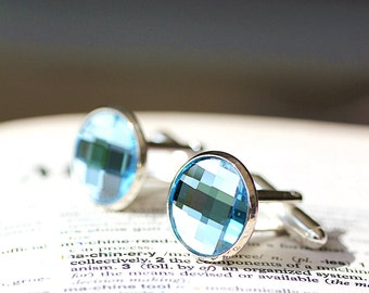Etsy Men Picks-Perfect Round Swarovski Crystal Aqua Blue Silver Cufflinks,Wedding,Groom gifts,Etsy Dude, Fathers Day,Etsy Weddings,Best Men