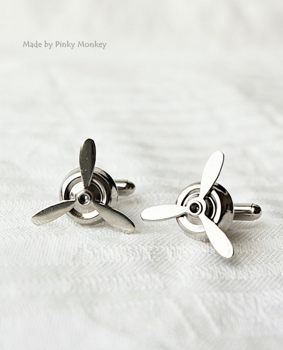 Silver Airplane PROPELLER CuffLinks ,wedding,groom gift,brothers,father's day,Best Man Gifts,ETSY Weddings- Aviator,By Maki Y Design,for him