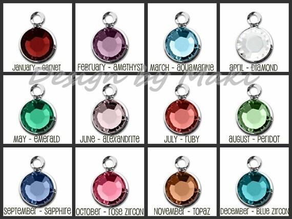 Add a Swarovski Crystal Birthstone Charm for Necklace or Bracelet, by Maki Y design,Add on, Add an extra