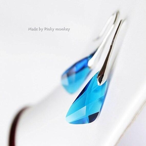 Capri Blue Swarovski Crystal Wing Earrings- Blue, Everyday jewelry, wedding,bridesmaids,Summer wedding