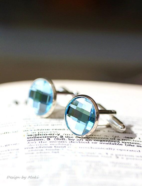 Etsy Men Picks-Perfect Round Swarovski Crystal Aqua Blue Silver Cufflinks,Wedding,Groom gifts,Etsy Dude, Fathers Day,Etsy Weddings,Best Men