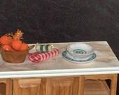 1\/12 miniatures 2 RUSTIC GREEK ISLAND CERAMIC PLATES handmade