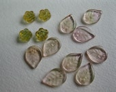 Flowers and Leaves Pressed Czech Glass Beads