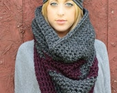 The Colossal Cowl.....Cowl/ Wrap/ Hood /Infinity Scarf in Eggplant and Charcoal Grey