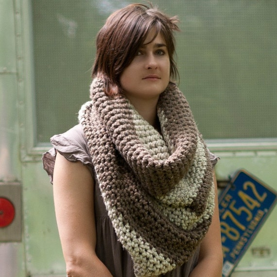 The Colossal Cowl......Cowl/ Wrap/ Hood /Infinity Scarf Barley and Oatmeal Colors