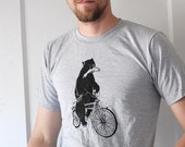 Commandeered By Wilderness || bear tshirt, bear on a bike, animals on bikes, guy gifts, bear gifts, mens printed tshirt, funny tshirt ||