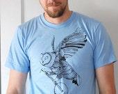 Ghost Banjo - flying owl banjo folk tshirt - mens t-Shirt - by Simka Sol