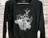 Brother(s) Caribou - deer caribou antlers womens long sleeve raglan pullover - by Simka Sol