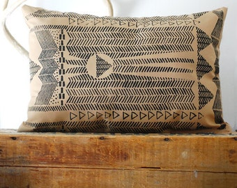 Going Hunting -  Black and Cornstalk - Modern Hand Printed Pillow Cover - by Simka Sol