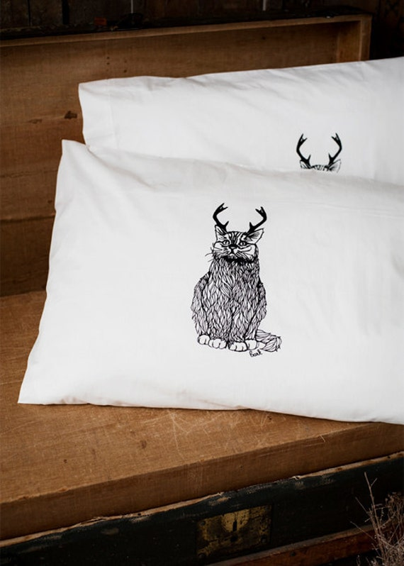 The Original Wild Catalope - Hand Printed Pillow Case Pair - 200tc - by Simka Sol - Christmas Cat