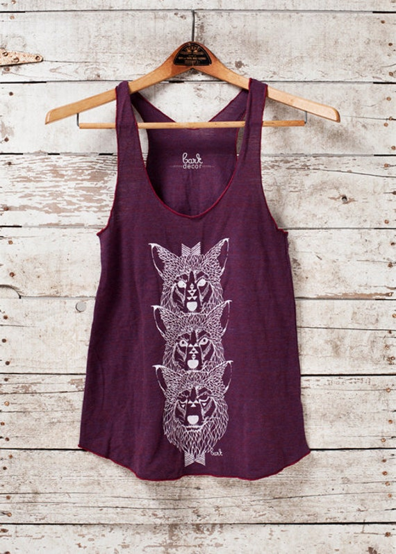 Wolf Totem - Womens Tri-blend Tank - in Cranberry - by Bark Decor - Only One Large Available