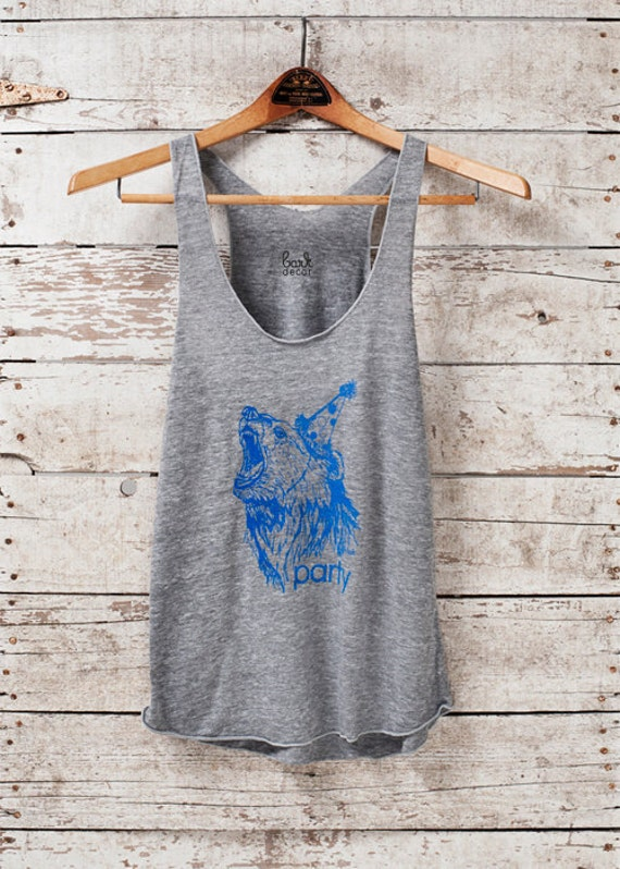 Being discontinued - Limited stock - Party Bear - womens tri-blend racer back jersey grey tank top - by Bark Decor