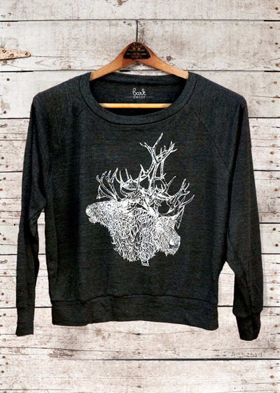 Brother(s) Caribou - deer caribou antlers womens long sleeve raglan pullover - by Simka Sol