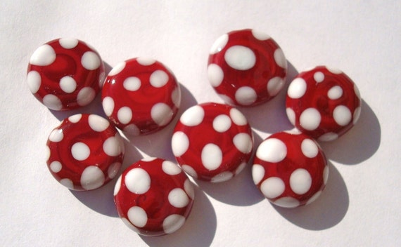 8  Red/White Spotty Handmade Lampwork Glass Cabochon's