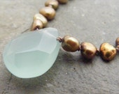 dewdrop...aqua chalcedony on hand knotted golden freshwater pearls necklace