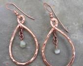 swingin...hammered copper teardrop hoops with blue green peruvian opal