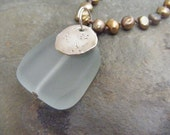 sea and sand...aqua sea glass, fine silver handmade charm on hand knotted golden freshewater pearl necklace