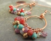 summer nights...hammered copper hoops, carnelian, turquoise, amethyst, gold glass dangles