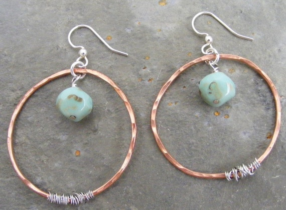 copper sky...hammered natural copper hoops with pale turquoise sky czech glass and silver