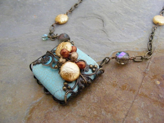 treasures...turquoise and Vintaj filigree with gold glass coin pearls