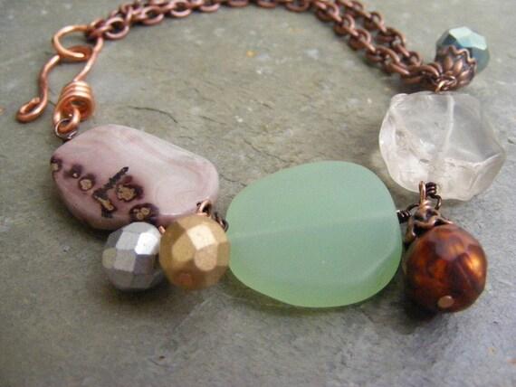 rock candy bracelet...aqua green sea glass, rock quartz, crazy horse jasper, and freshwater pearl charm bracelet