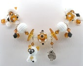 Adorable Handmade Glass Lampwork Calico Cat Bracelet