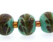 Handmade Silvered Sea Foam Green Lampwork Beads