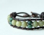 Vira - Leather and Olivine Wap Bracelet