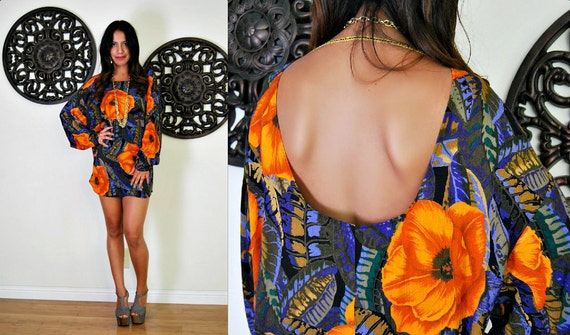 Upcycled Vintage Plunging Bold Floral Backless Mini Dress M