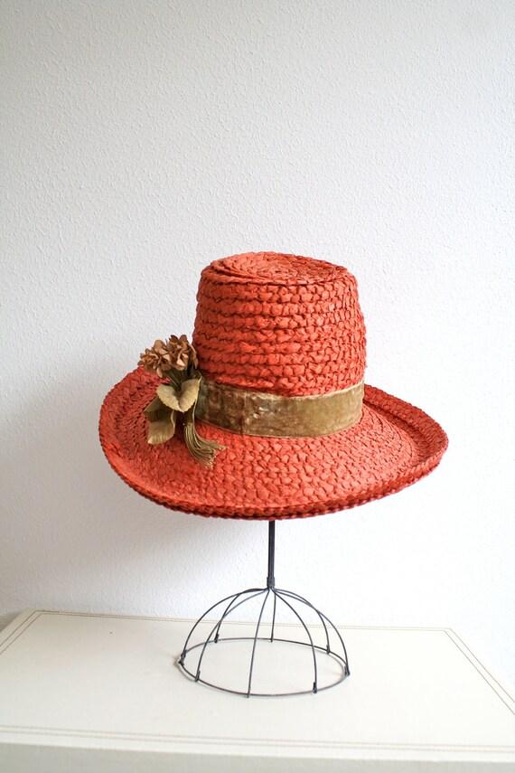1960s Straw hat : Persimmon Flower