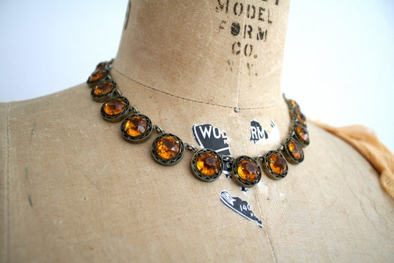1930s Amber Moon Necklace
