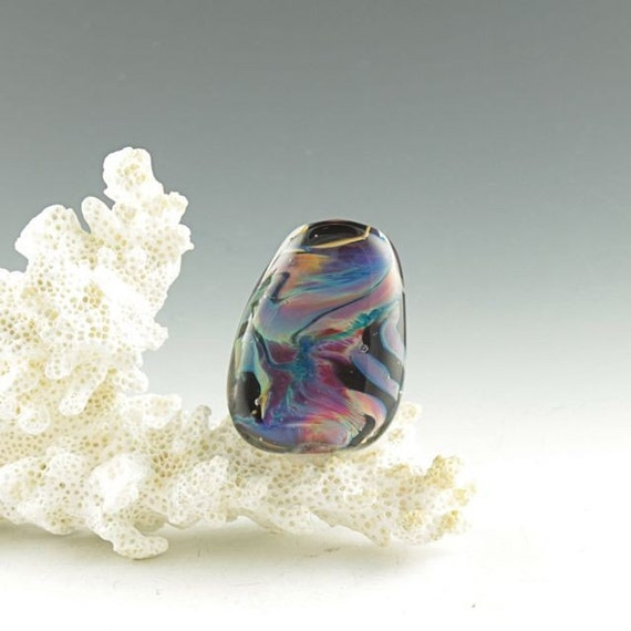 Glass Focal Bead Sunset colors, freeform abstract motif