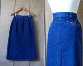Vintage Levi's Jean Skirt / Orange Tab / High Waisted Wiggle Skirt / 1970s / Western / Rockabilly / Denim / Small XS / Indie / Retro /