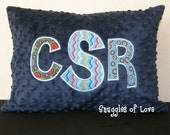 Personalized Navy Pillow - Boys Monogrammed Pillow - Made to Match YOUR BEDDING - Primary Colors - Custom Made