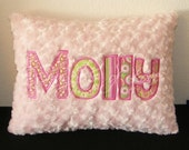 Pink and Green Pillow - Plush Minky Swirl Personalized Applique Pillow - Custom Made with YOUR NAME
