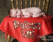 Minky Baby Blanket - Mocca Flowers - PERSONALIZED Blanket - Brown, Red and Yellow Flowers - Blanket Photo Prop