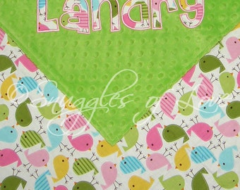 Bird Blanket for Baby Girls - PERSONALIZED - Birds in Spring Cotton and Minky Dot - Minky Birds Blanket - Personalized Bird Blanket