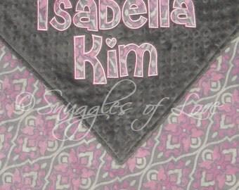 Minky Baby Blanket - Pink and Grey Blanket - PERSONALIZED Blanket - Appliqued Baby Blanket - Pink and Gray Blanket for Girls