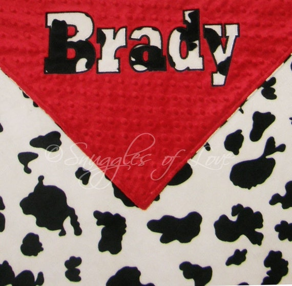 Appliqued Minky Baby Blanket Personalized - Cow Print - Minky Cow Blanket - DESIGN YOUR OWN