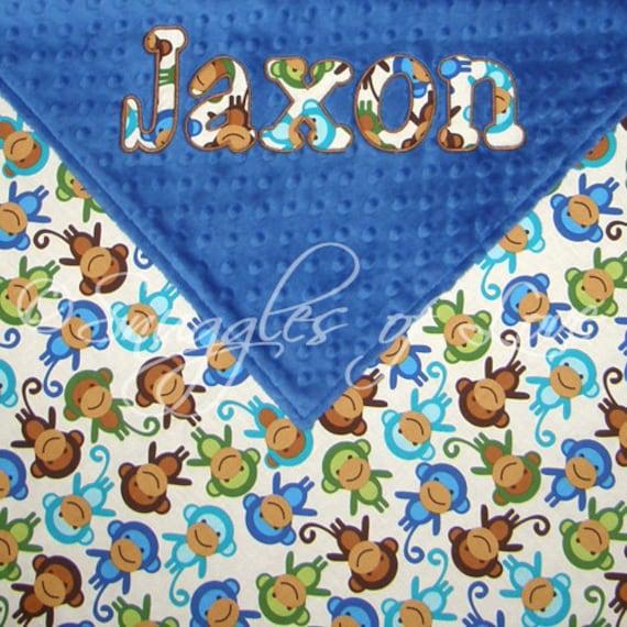 Baby Boy Monkey Blanket - Blue Monkeys and Minky Baby Blanket - PERSONALIZED - Minky and Cotton Blanket - Monkey Baby Blanket
