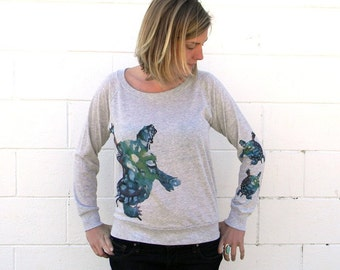 Watercolor Turtle Light Grey Slouchy Shirt NOTE: this item now a light ivory