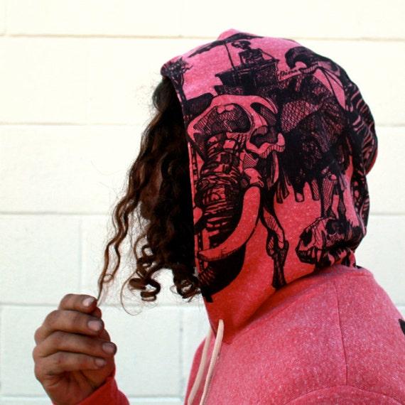 Skeletons on Fuchsia Zip Hoodie