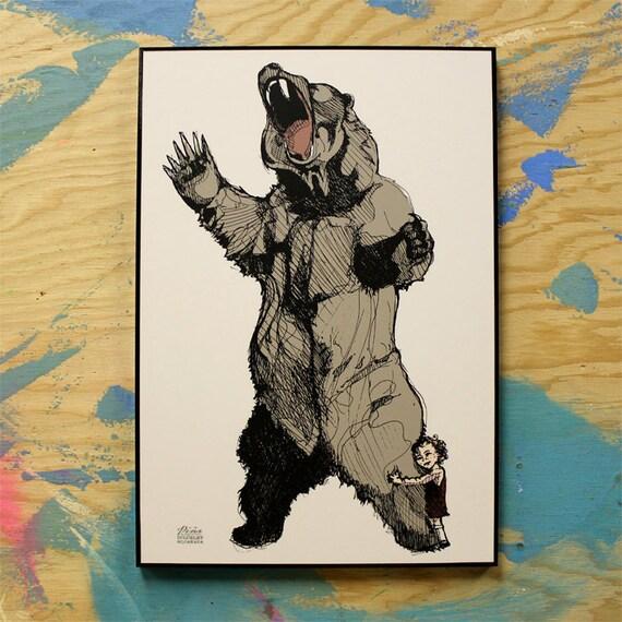 Bear Hugger Illustration Gallery Plaque